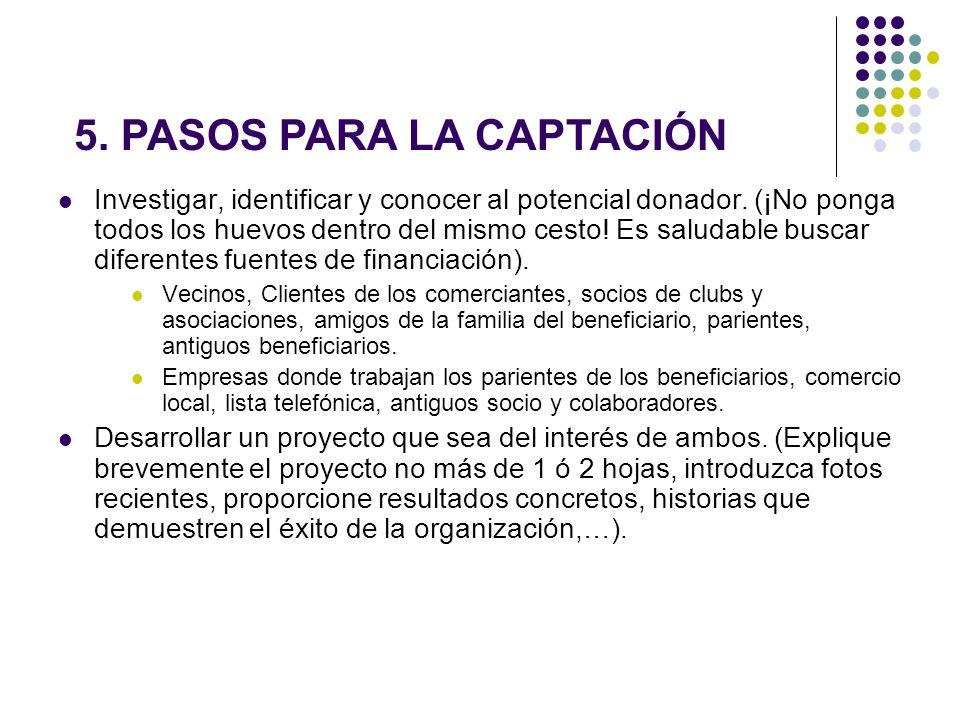 5. PASOS PARA LA CAPTACIÓN