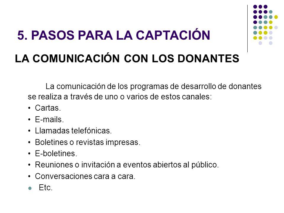 LA COMUNICACIÓN CON LOS DONANTES