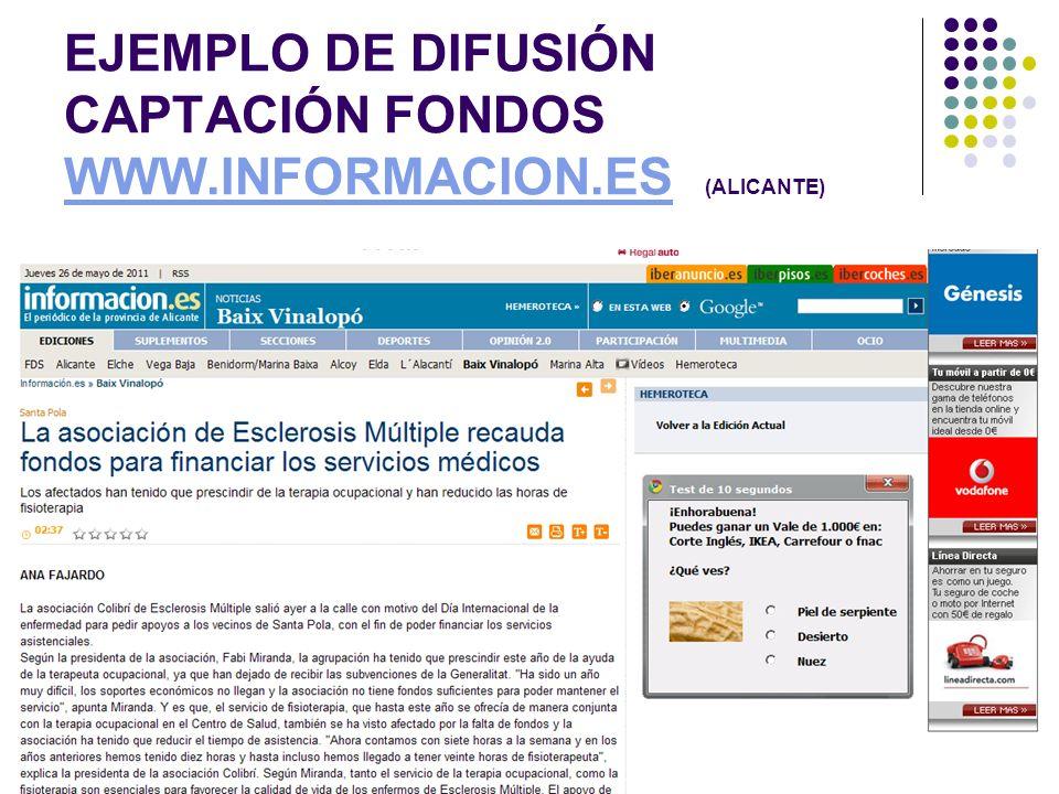EJEMPLO DE DIFUSIÓN CAPTACIÓN FONDOS WWW.INFORMACION.ES (ALICANTE)