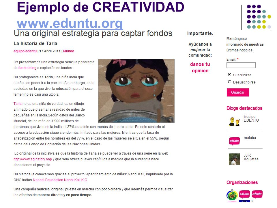 Ejemplo de CREATIVIDAD www.eduntu.org