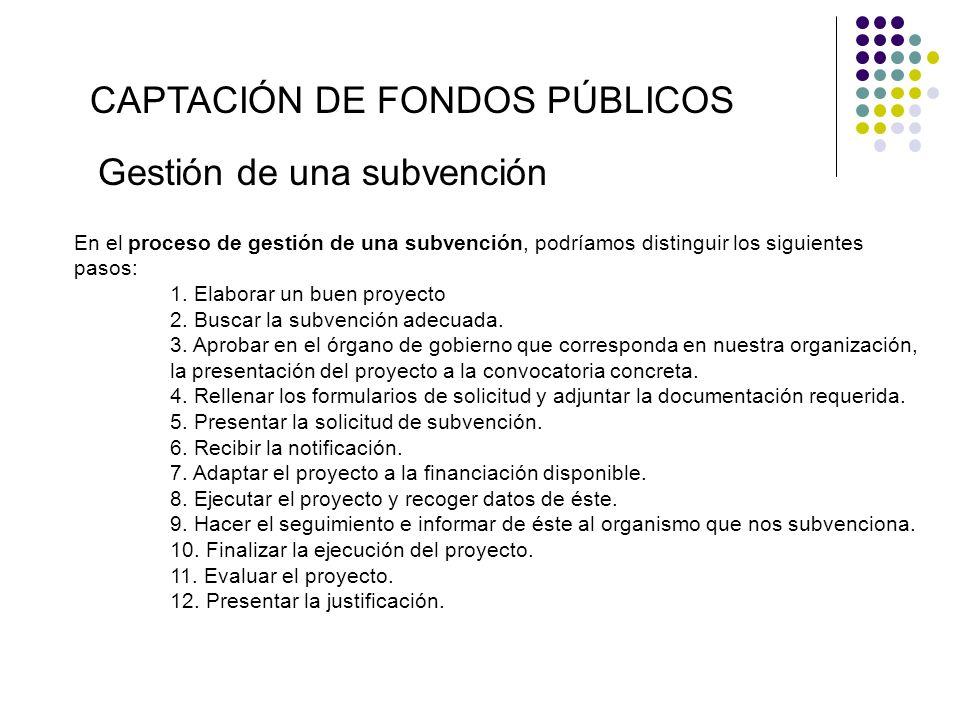 CAPTACIÓN DE FONDOS PÚBLICOS