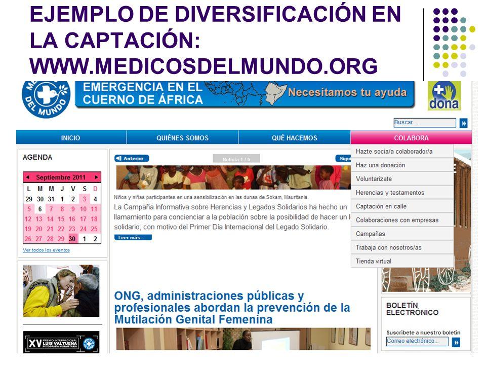 EJEMPLO DE DIVERSIFICACIÓN EN LA CAPTACIÓN: WWW.MEDICOSDELMUNDO.ORG