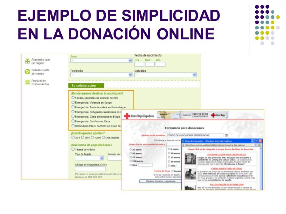 EJEMPLO DE SIMPLICIDAD EN LA DONACIÓN ONLINE