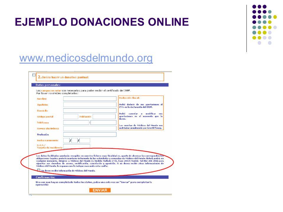 EJEMPLO DONACIONES ONLINE