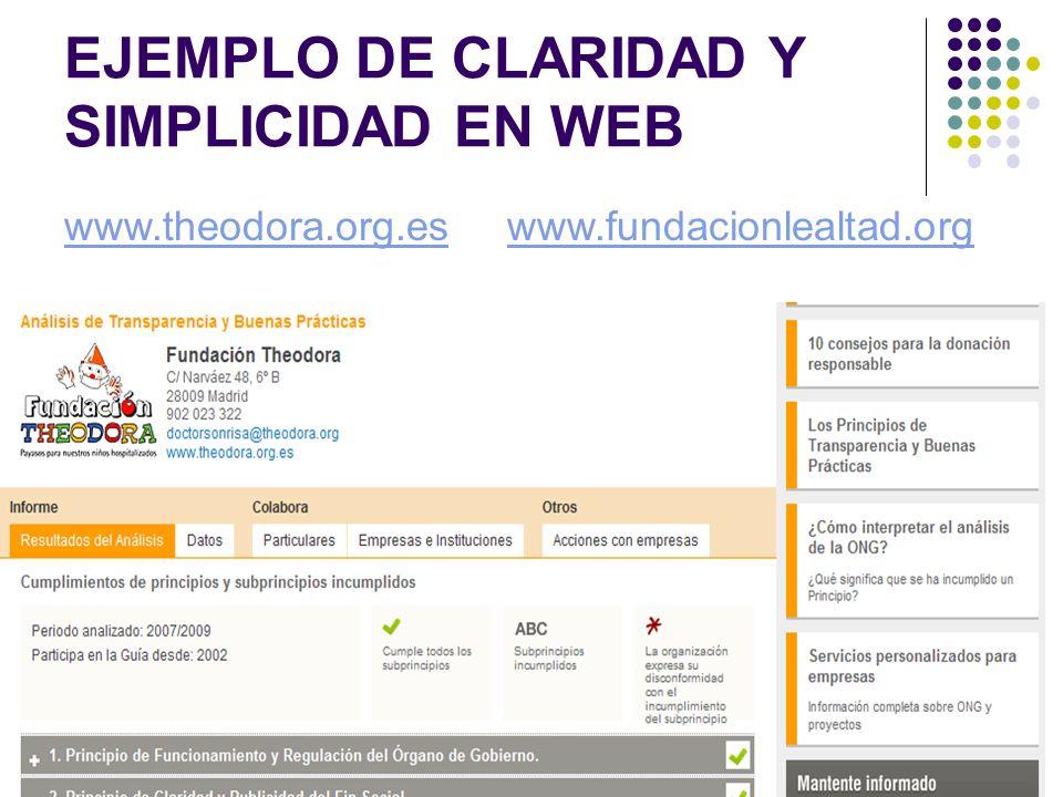 EJEMPLO DE CLARIDAD Y SIMPLICIDAD EN WEB