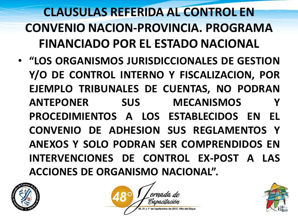 CLAUSULAS REFERIDA AL CONTROL EN CONVENIO NACION-PROVINCIA