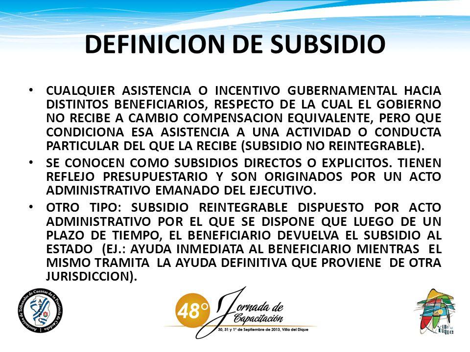 DEFINICION DE SUBSIDIO