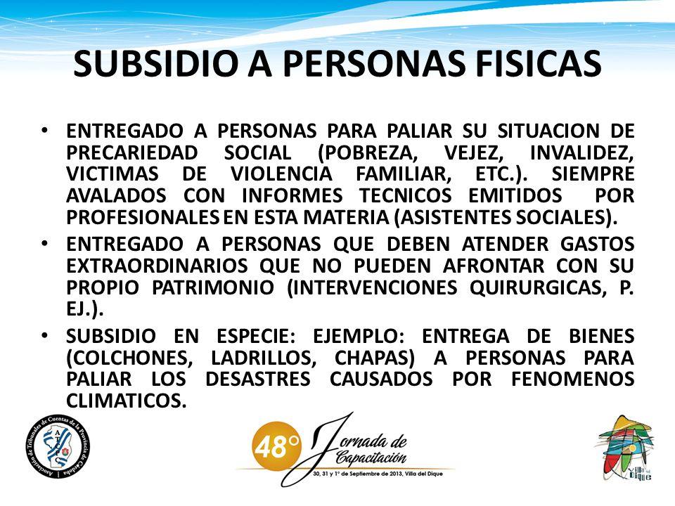 SUBSIDIO A PERSONAS FISICAS