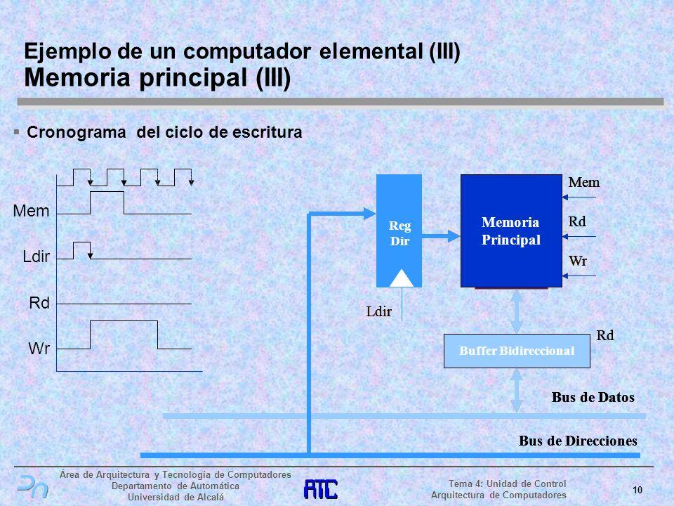 Ejemplo de un computador elemental (III) Memoria principal (III)