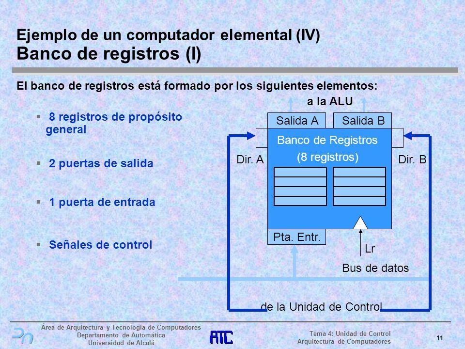 Ejemplo de un computador elemental (IV) Banco de registros (I)