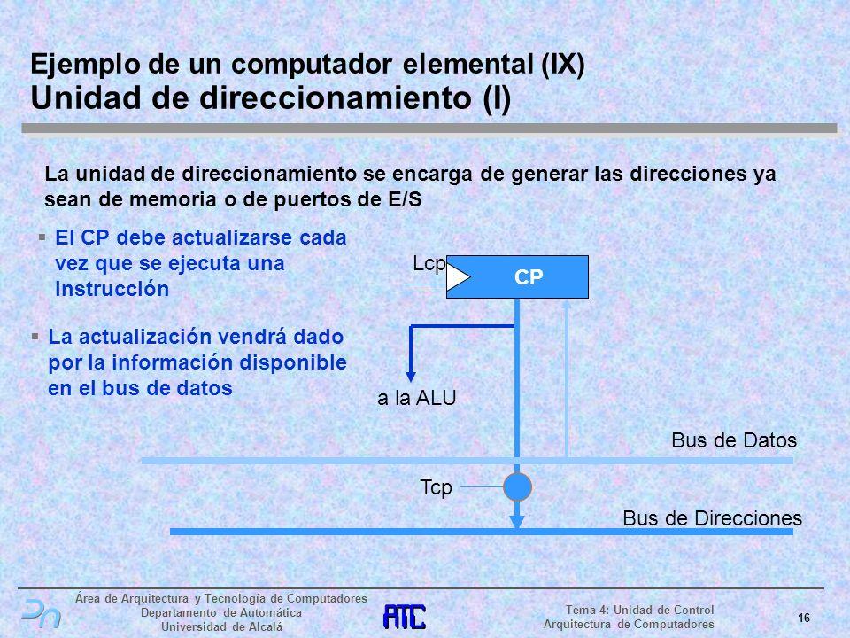 Ejemplo de un computador elemental (IX) Unidad de direccionamiento (I)