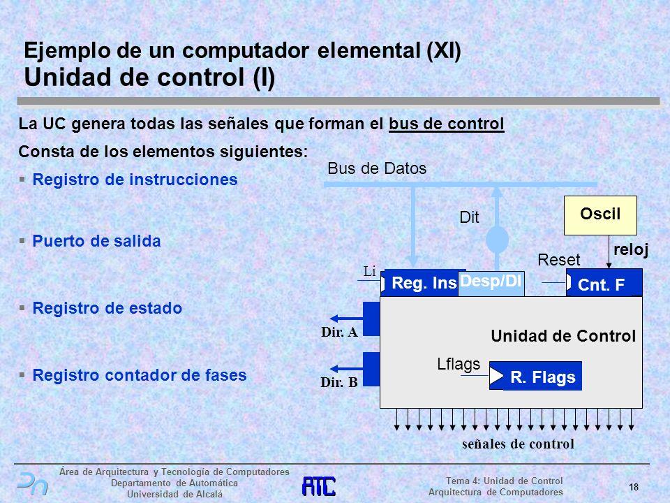 Ejemplo de un computador elemental (XI) Unidad de control (I)