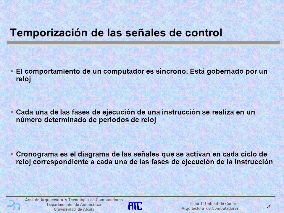 Temporización de las señales de control
