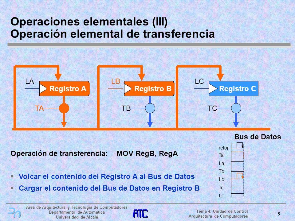Operaciones elementales (III) Operación elemental de transferencia