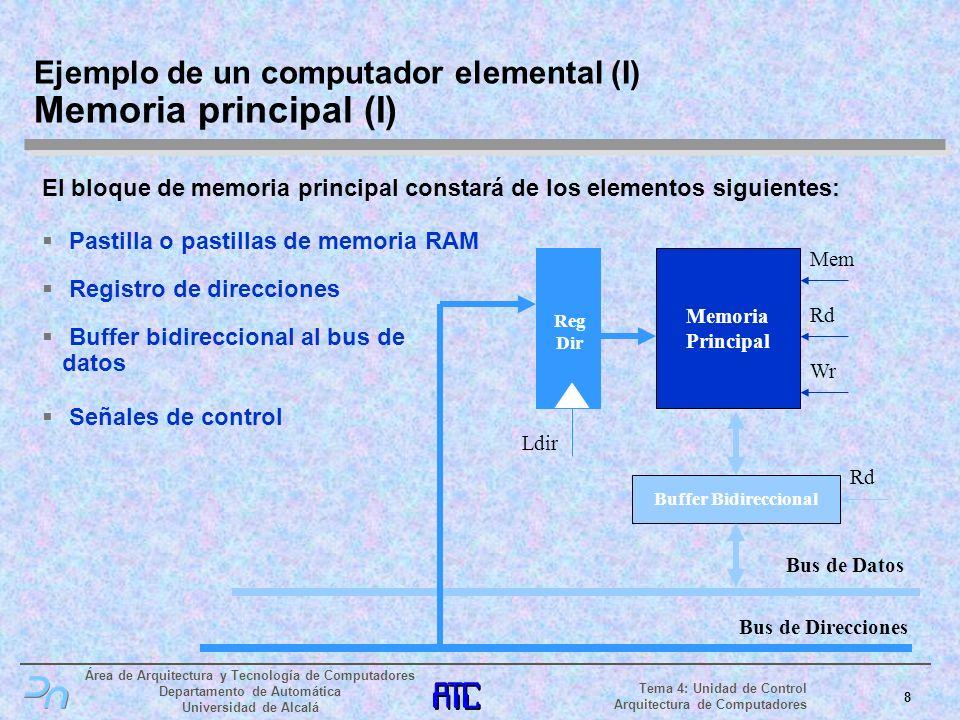 Ejemplo de un computador elemental (I) Memoria principal (I)