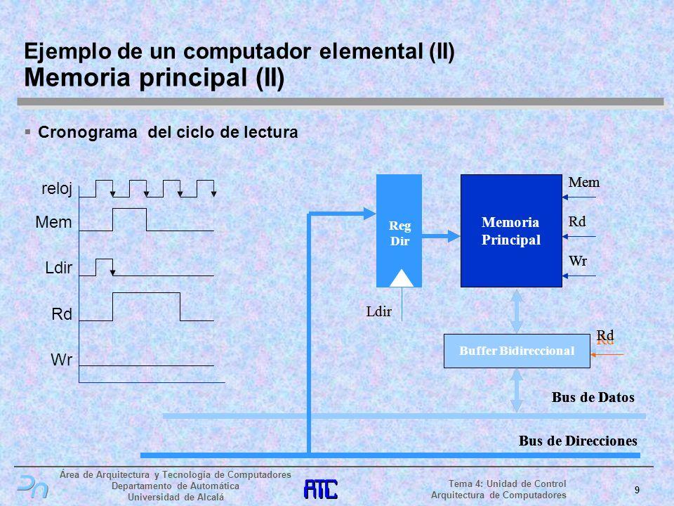 Ejemplo de un computador elemental (II) Memoria principal (II)