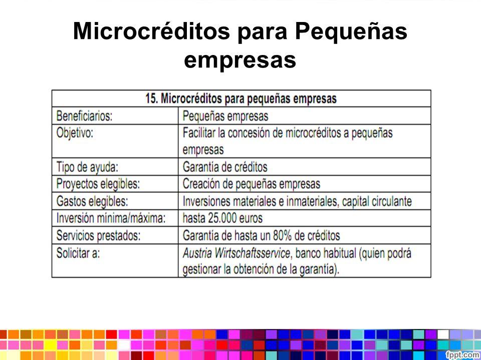 Microcréditos para Pequeñas empresas