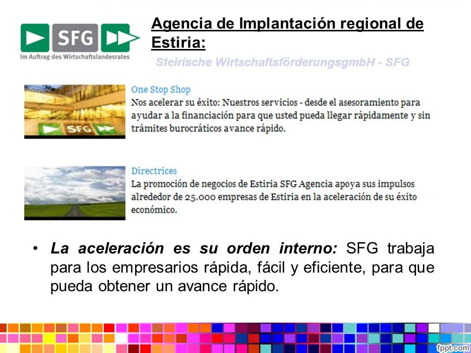 Agencia de Implantación regional de Estiria: Steirische WirtschaftsförderungsgmbH - SFG