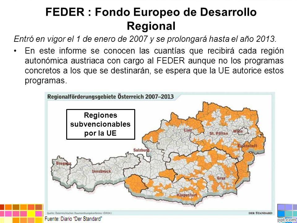FEDER : Fondo Europeo de Desarrollo Regional