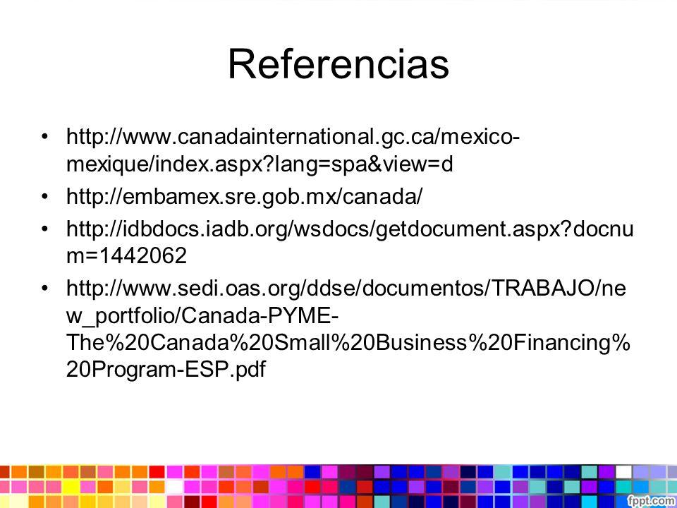 Referencias http://www.canadainternational.gc.ca/mexico-mexique/index.aspx lang=spa&view=d. http://embamex.sre.gob.mx/canada/