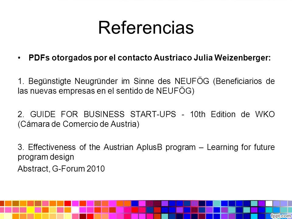 Referencias PDFs otorgados por el contacto Austriaco Julia Weizenberger: