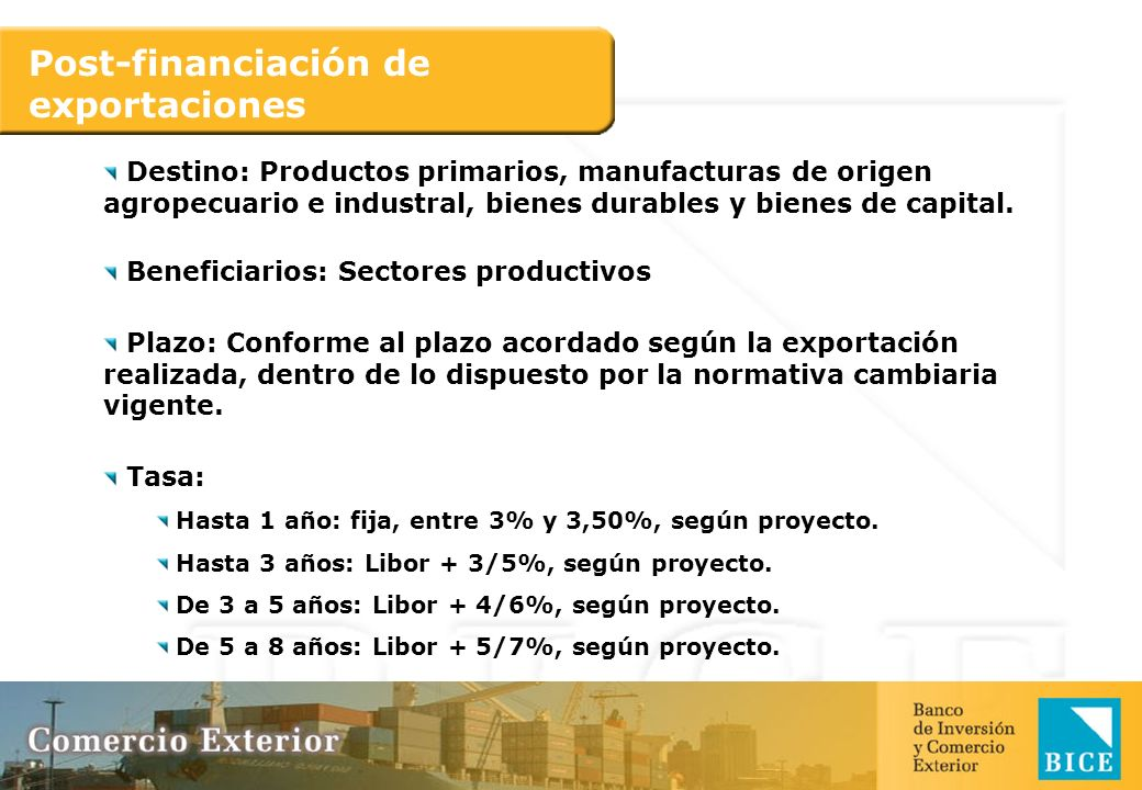 Post-financiación de exportaciones