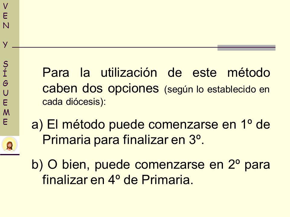 a) El método puede comenzarse en 1º de Primaria para finalizar en 3º.
