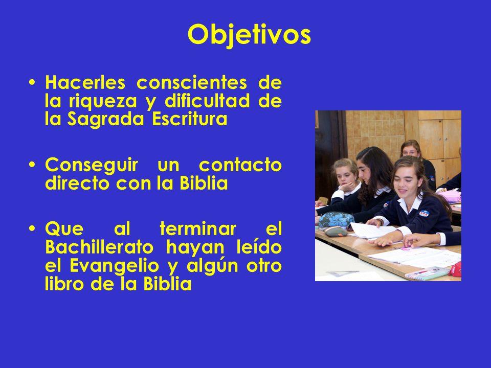 Objetivos Hacerles conscientes de la riqueza y dificultad de la Sagrada Escritura. Conseguir un contacto directo con la Biblia.