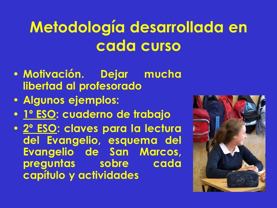 Metodología desarrollada en cada curso