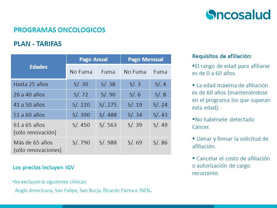 PROGRAMAS ONCOLOGICOS PLAN - TARIFAS