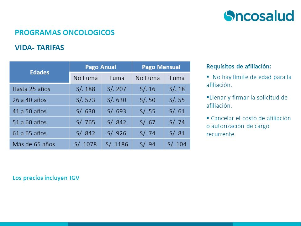 PROGRAMAS ONCOLOGICOS VIDA- TARIFAS