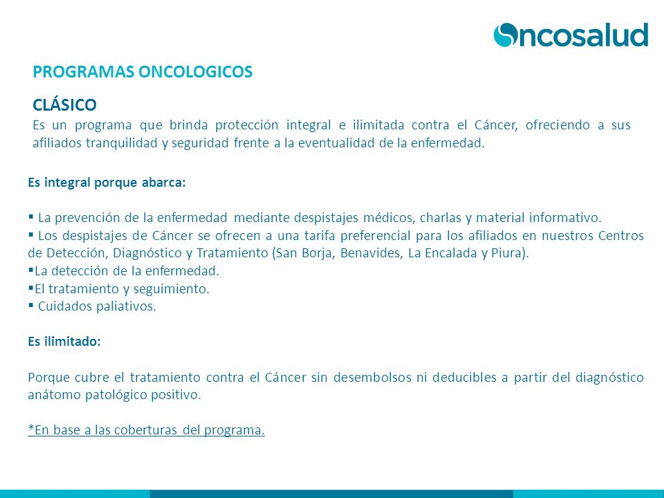 PROGRAMAS ONCOLOGICOS CLÁSICO