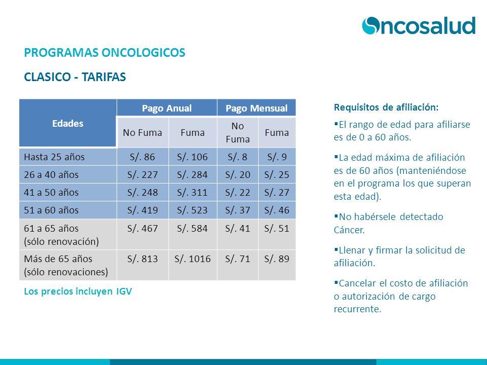 PROGRAMAS ONCOLOGICOS CLASICO - TARIFAS