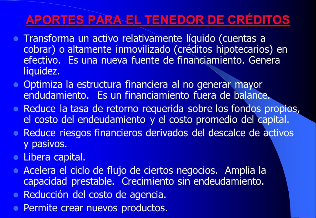 APORTES PARA EL TENEDOR DE CRÉDITOS