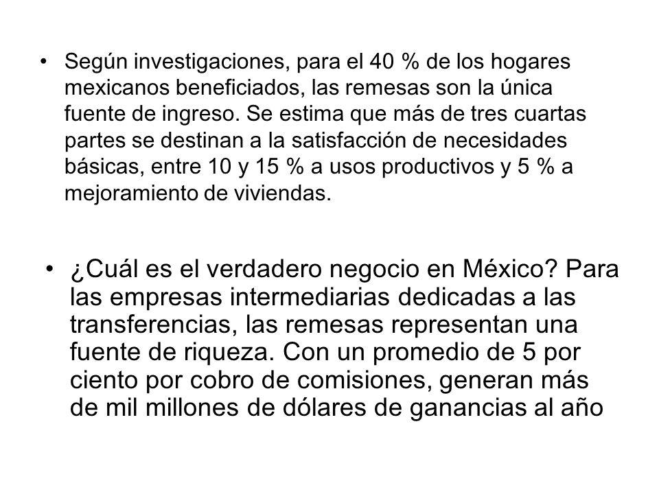 Según investigaciones, para el 40 % de los hogares mexicanos beneficiados, las remesas son la única fuente de ingreso. Se estima que más de tres cuartas partes se destinan a la satisfacción de necesidades básicas, entre 10 y 15 % a usos productivos y 5 % a mejoramiento de viviendas.