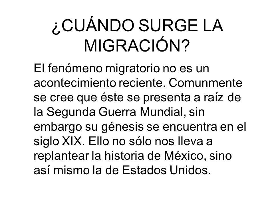 ¿CUÁNDO SURGE LA MIGRACIÓN