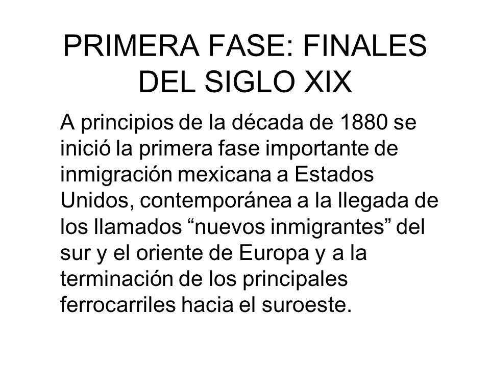 PRIMERA FASE: FINALES DEL SIGLO XIX