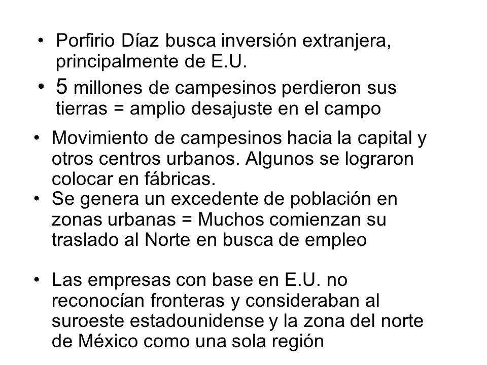 Porfirio Díaz busca inversión extranjera, principalmente de E.U.