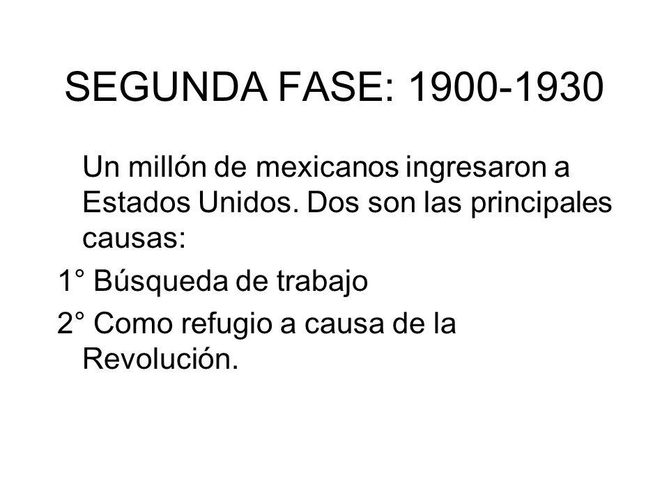 SEGUNDA FASE: 1900-1930 Un millón de mexicanos ingresaron a Estados Unidos. Dos son las principales causas: