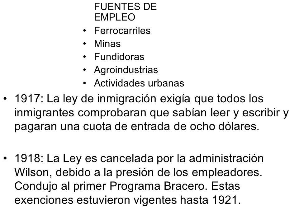 FUENTES DE EMPLEO Ferrocarriles. Minas. Fundidoras. Agroindustrias. Actividades urbanas.