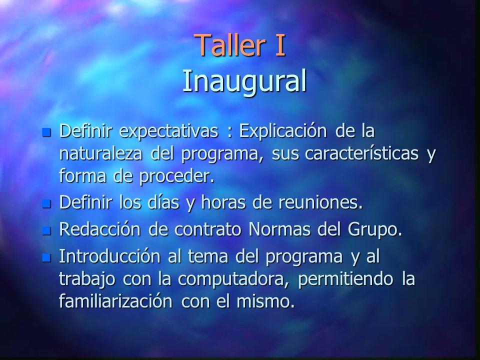 Taller I Inaugural Definir expectativas : Explicación de la naturaleza del programa, sus características y forma de proceder.