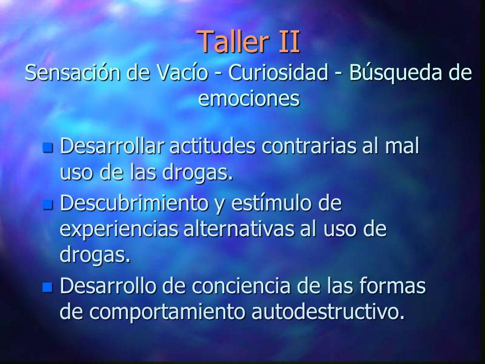 Taller II Sensación de Vacío - Curiosidad - Búsqueda de emociones