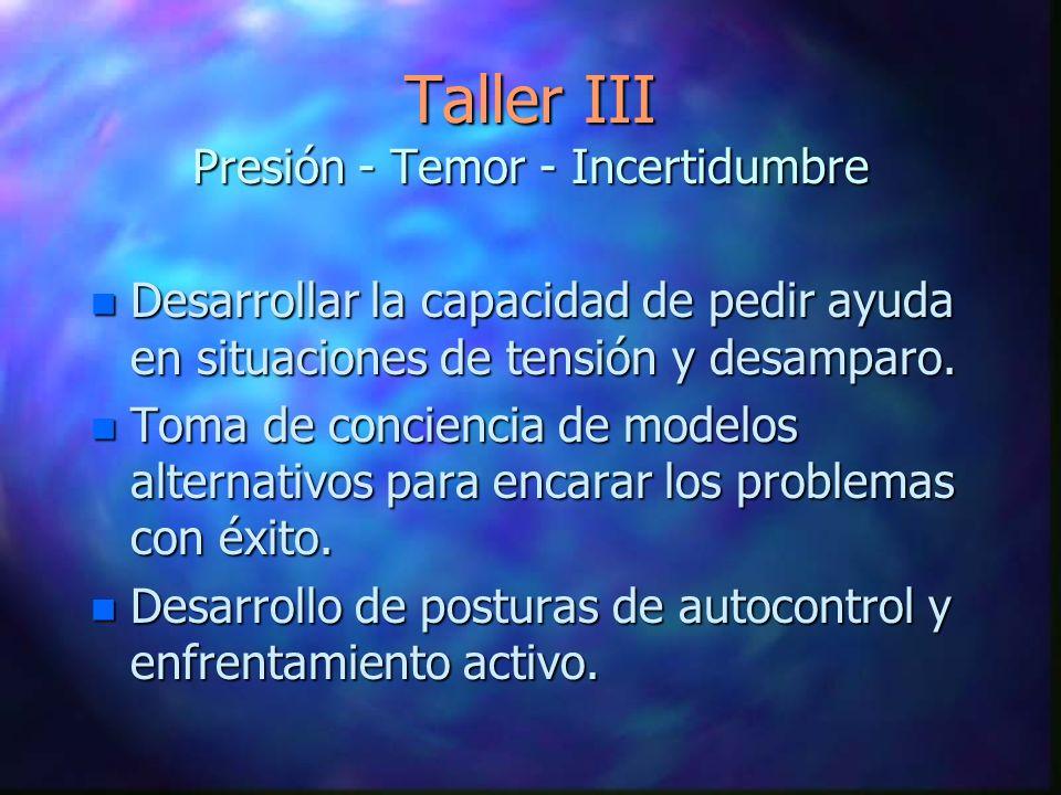 Taller III Presión - Temor - Incertidumbre