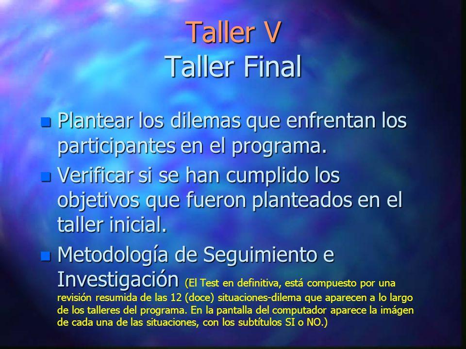 Taller V Taller Final Plantear los dilemas que enfrentan los participantes en el programa.