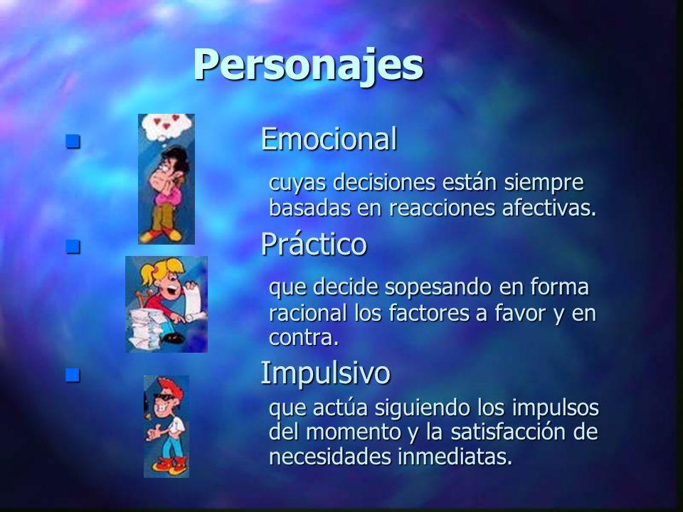 Personajes Emocional. cuyas decisiones están siempre basadas en reacciones afectivas. Práctico.