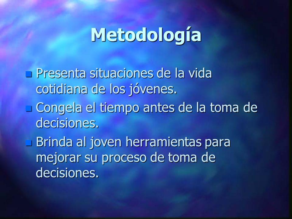 Metodología Presenta situaciones de la vida cotidiana de los jóvenes.