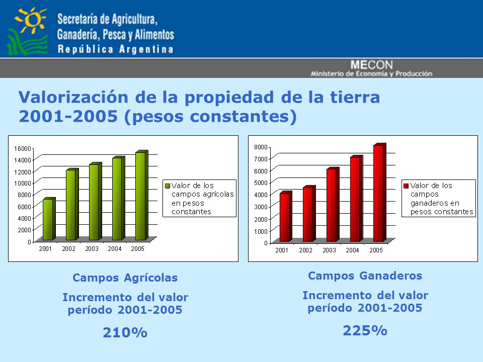 Valorización de la propiedad de la tierra 2001-2005 (pesos constantes)