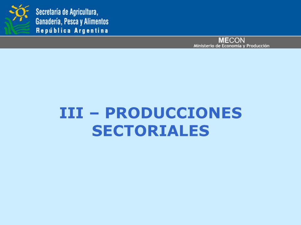 III – PRODUCCIONES SECTORIALES