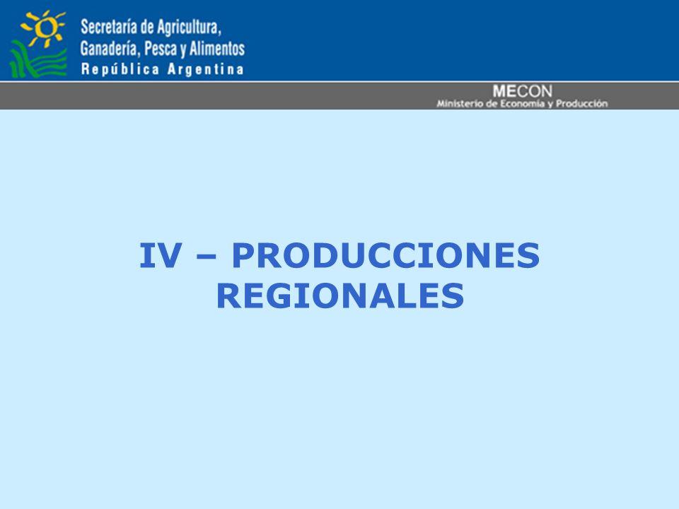 IV – PRODUCCIONES REGIONALES