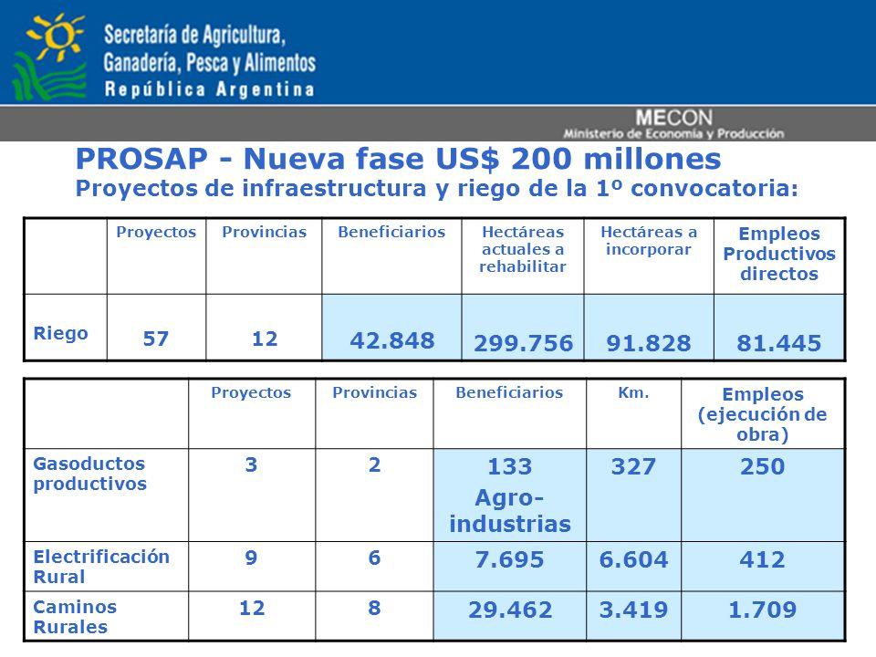 PROSAP - Nueva fase US$ 200 millones Proyectos de infraestructura y riego de la 1º convocatoria: